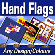 Hand flags and paper flags printed from customer's artwork and design